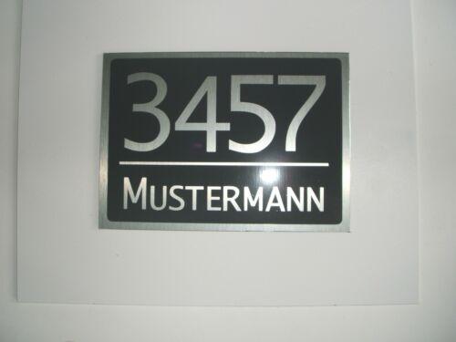 Hausnummer-Namensschild-Türschild Edelstahloptik Dibond