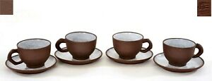 Chinese 4 Set Enamel Crackle Glaze Yixing ZISHA Tea Cup & Saucer Mk - AS IS