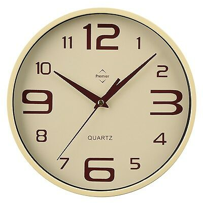 PREMIER HOUSEWARES CREAM LARGE SMALL NUMBERS DESIGN ROUND HOME OFFICE WALL CLOCK
