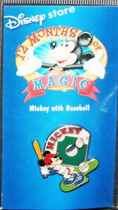 RARE-MICKEY-MOUSE-PIN-DISNEY-DISNEYLAND-WITH-BASEBALL-SLIDER-12-MONTHS-OF-MAGIC