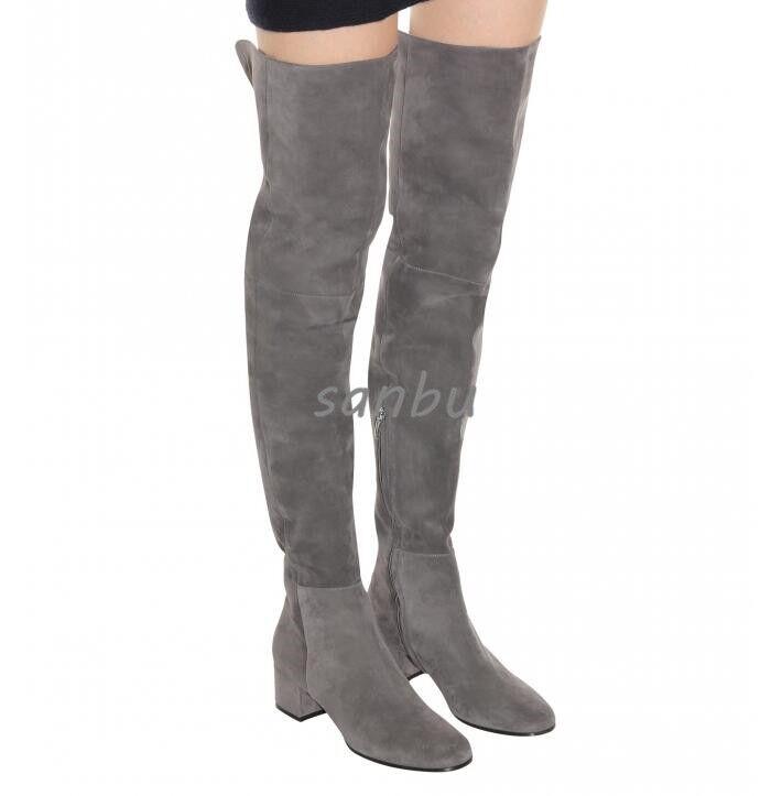 kvinnor Knee höga stövlar Side Side Side Zip mocka läder Genuine Winter Warm Chunky Heel SZ  80% rabatt