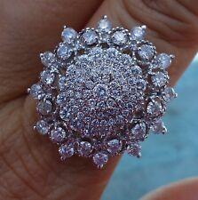 20ct Large diamond cluster Dinner ring 14k WG halo