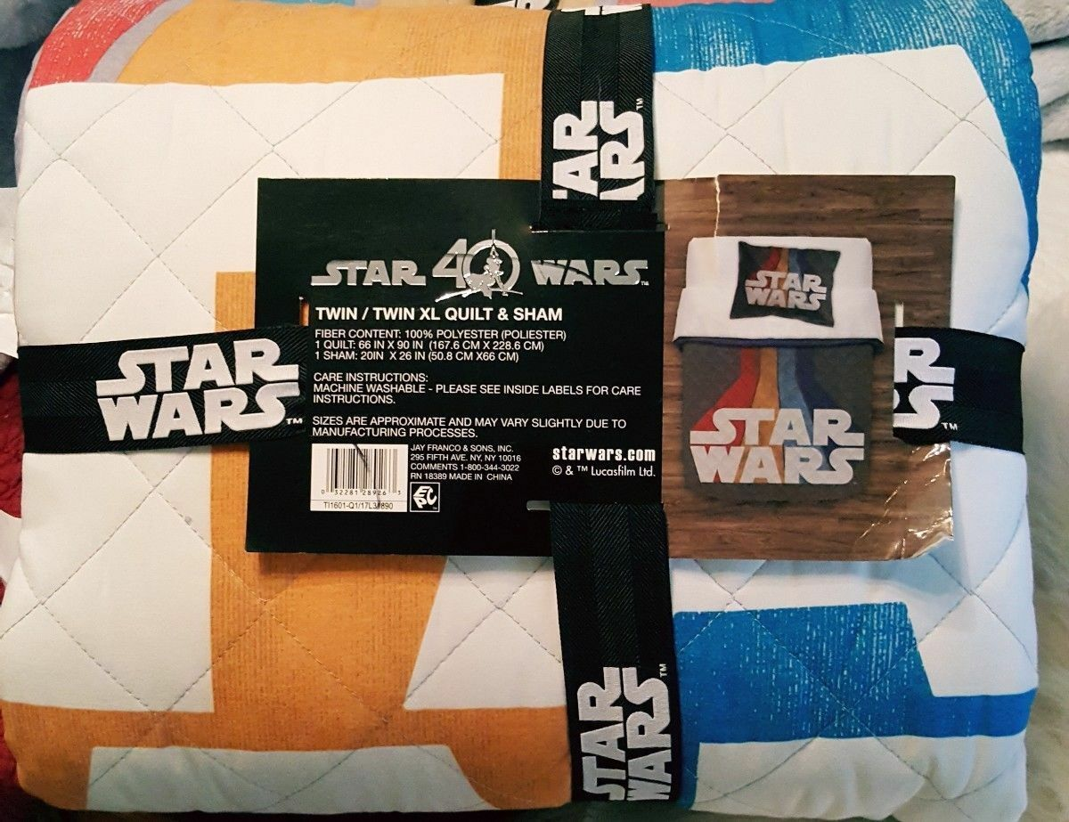 Star Wars 40th Anniversary TWIN XL Quilt 2 piece Set Retro Vintage Stripe