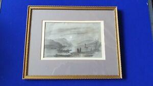 Mary-Harrison-1788-1875-Graphite-amp-Chinois-Blanc-Croquis-de-Rhin-Date-1844
