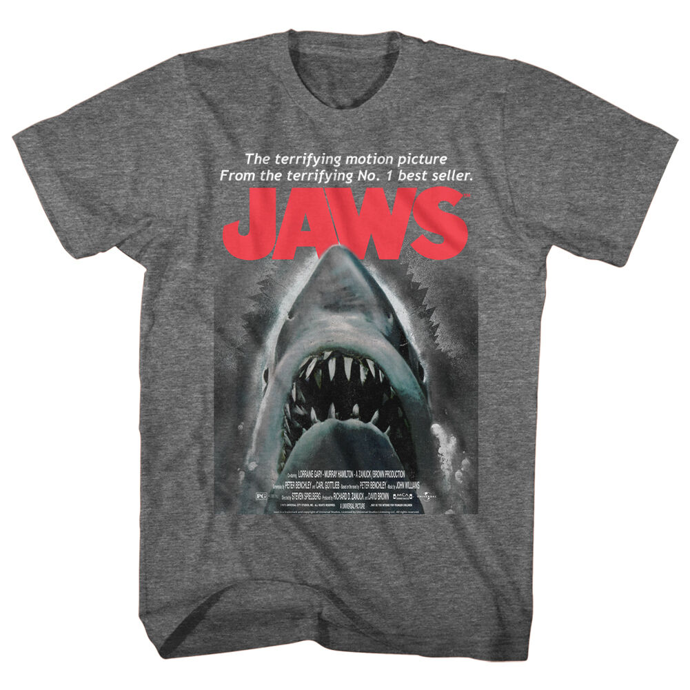 Mens NEW JAWS Licensed T-Shirt SHARK BEWARE Grey Heather in SM - 5XL