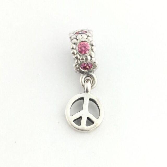Genuine Pandora Sterling Silver Dangle Peace Sign Pink Cz Charm