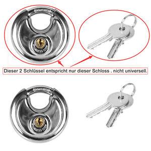 69 Mm Premium-Rundscheiben-Vorhängeschloss Edelstahl 2 Schlüssel