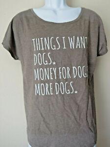 Funny-Women-039-s-DOGS-Dog-Lover-T-SHIRT-Olive-Khaki-Green-Short-Sleeve-TEE-xxl-2xl