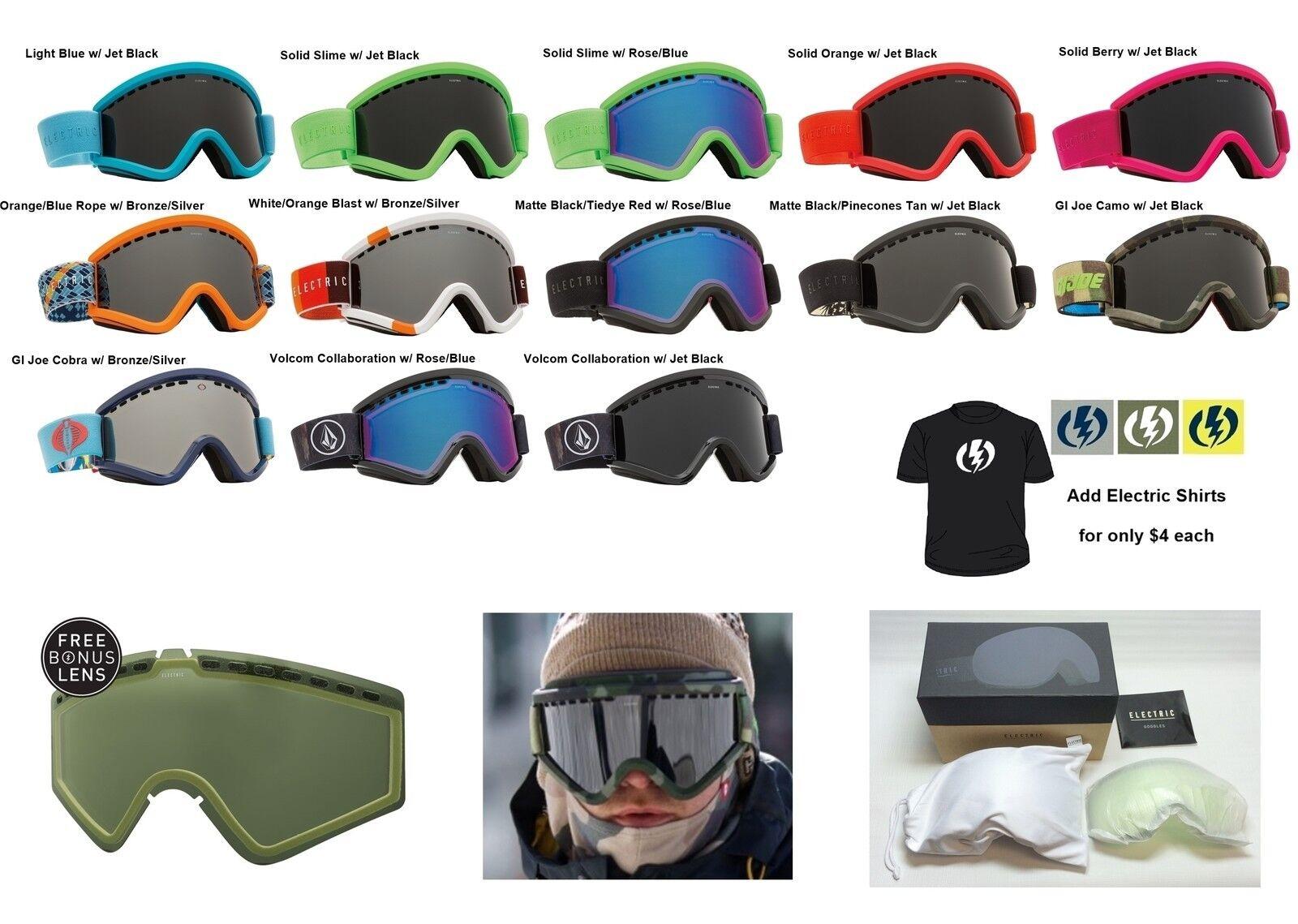 NEW Electric EGV mens womens ski snowboard goggles + lens 2016 Msrp