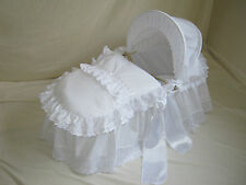 WHITE WITH BRODERIE ANGLAISE AND SATIN MOSES BASKET COVER SET BY BABYFANZONE