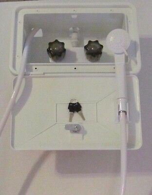 WHITE RV Outside Outdoor Exterior Shower Box Set Hand Held Holder 97023-A