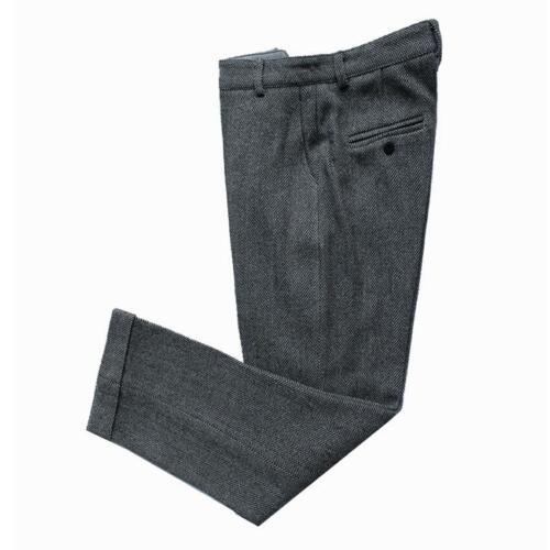 Mens Vintage Tweed Herringbone Stripe Wool Dress Pants Work Wedding Trousers New