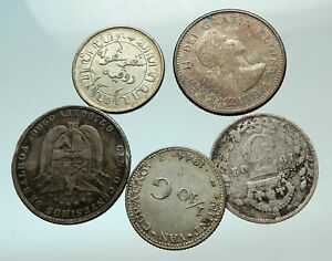 GROUP-LOT-of-5-Old-SILVER-Europe-or-Other-WORLD-Coins-for-your-COLLECTION-i75777
