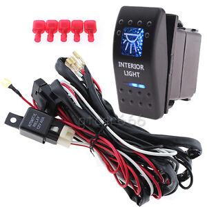12V Blue LED 5-Pin Car Interior Light Rocker Switch ON-OFF ...