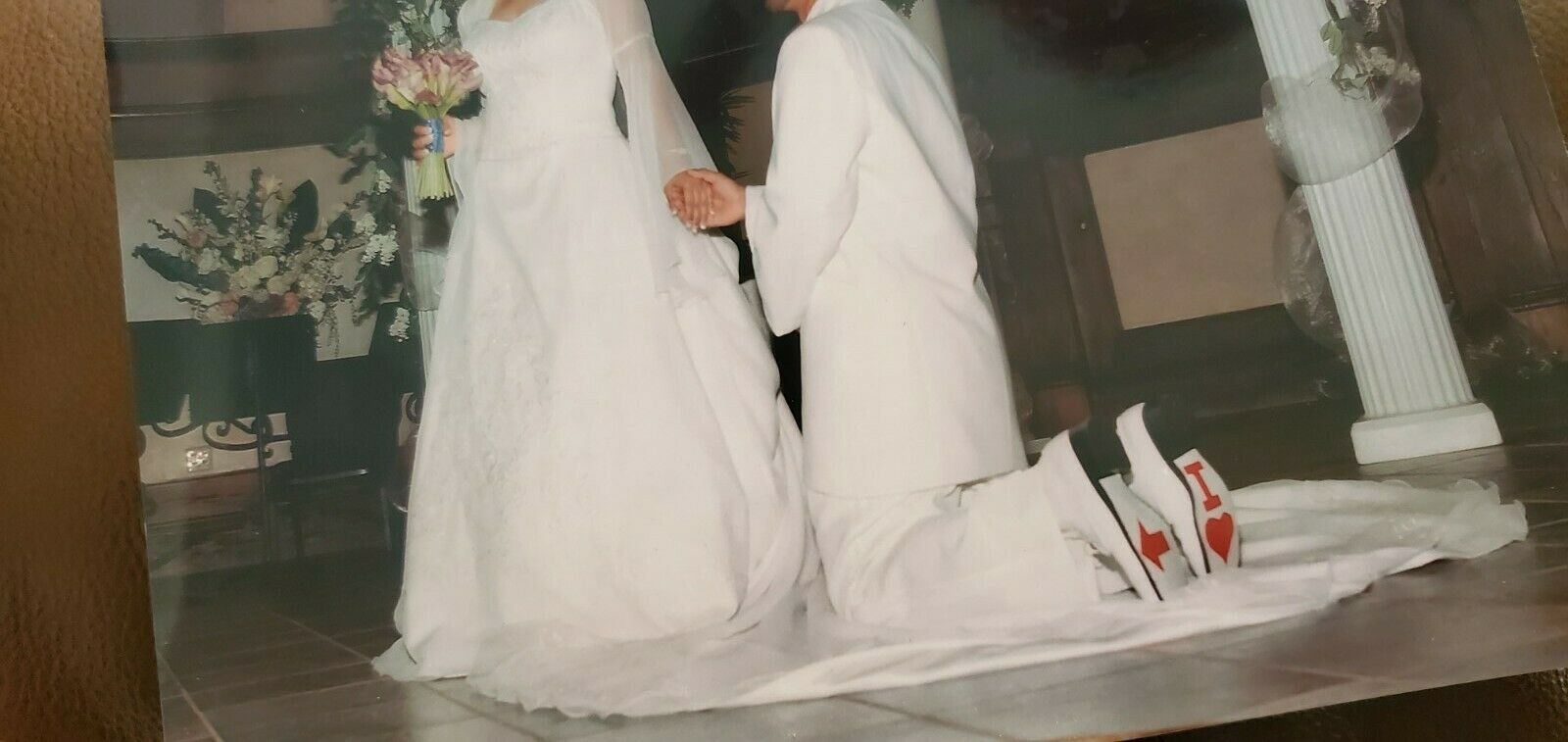 Wedding gown, white, bell sleeves, long train, organza, embellished, sz 8 dress