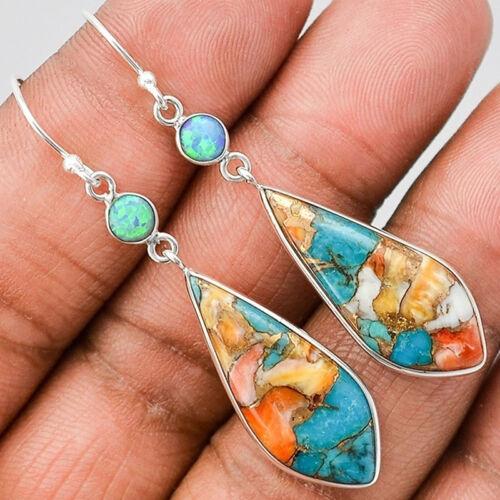Women Vintage Tibetan Silver Turquoise Dangle Drop Hook Earrings Jewelry G