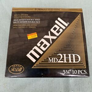 Maxell-MD-2HD-5-1-4-034-Floppy-Disk-Box-10-New-Old-Stock-5-25-034-Floppies-Super-RDII