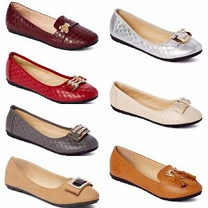 New-Womens-Lady-Comfort-Slip-On-Embellished-Ballet-Flats-All-Styles-amp-Colors