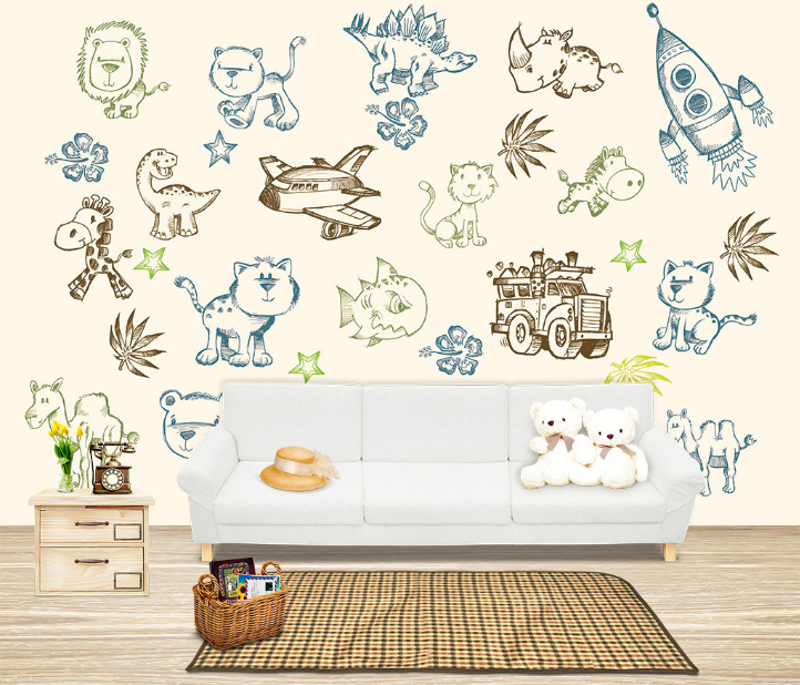 3D Graffiti Animals Aircraft Paper Wall Print Wall Decal Wall Deco Indoor Murals