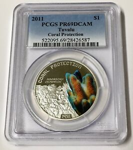 2011-Tuvalu-Coral-Protection-Colorized-1-Silver-Coin-PCGS-Graded-PR69-DCAM