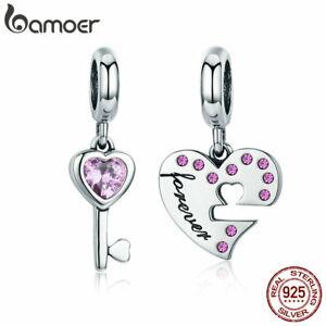 BAMOER-925-Sterling-Silver-Charm-Heart-Key-Dangle-With-AAA-Zircon-Fit-bracelet
