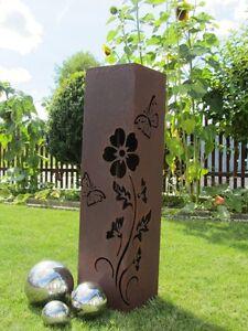 Saeule-Rost-Blume-Edelrost-Metall-Gartendeko-Stele-rostig-Deko-Rostsaeule-Garten