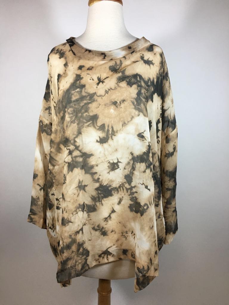 ESKANDAR 100% Silk Lagenlook 3/4 Sleeve Braun Tie Dye Blouse B60