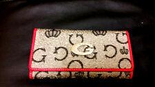 Grey Metal Silver Diamante G Buckle Canvas Fabric Monogram Ladies Purse Present