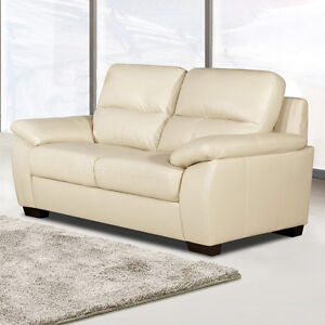 artena large 2 seater ivory cream leather sofa pocket sprung settee ebay. Black Bedroom Furniture Sets. Home Design Ideas