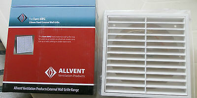 Fixed Grille Air Vent with 150mm Duct Spigot thick model- EURO 6WG ALLVENT