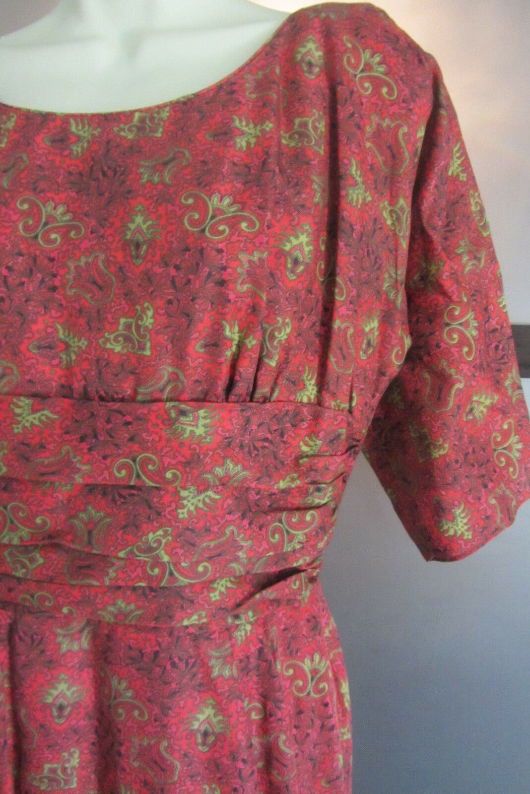 Vintage Jane Hodges Dress New York Red Olive Green Paisley Party 14 Todays M