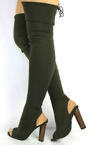 LADIES-WOMENS-KHAKI-THIGH-HIGH-OVER-THE-KNEE-STRETCH-BOOTS-BLOCK-HEEL-SHOES-SIZE
