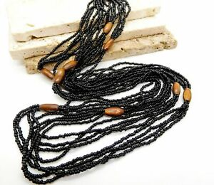 Vintage-Layered-Black-Glass-Brown-Wood-Bead-Long-Boho-Tribal-Necklace-JJ3