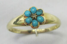Antique Georgian 15ct Gold Pave Persian Turquoise Rose Cut Diamond Daisy Ring