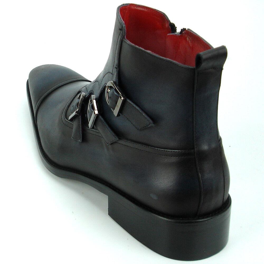 FI-8709 nero Brushed Leather Leather Leather Cap Toe Triple Buckle With Side Zipper Fiesso avvio 8b9e6f