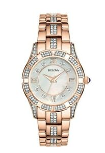 Bulova Women's Quartz Swarovski Crystal Accents Two-Tone 30mm Watch 98L197
