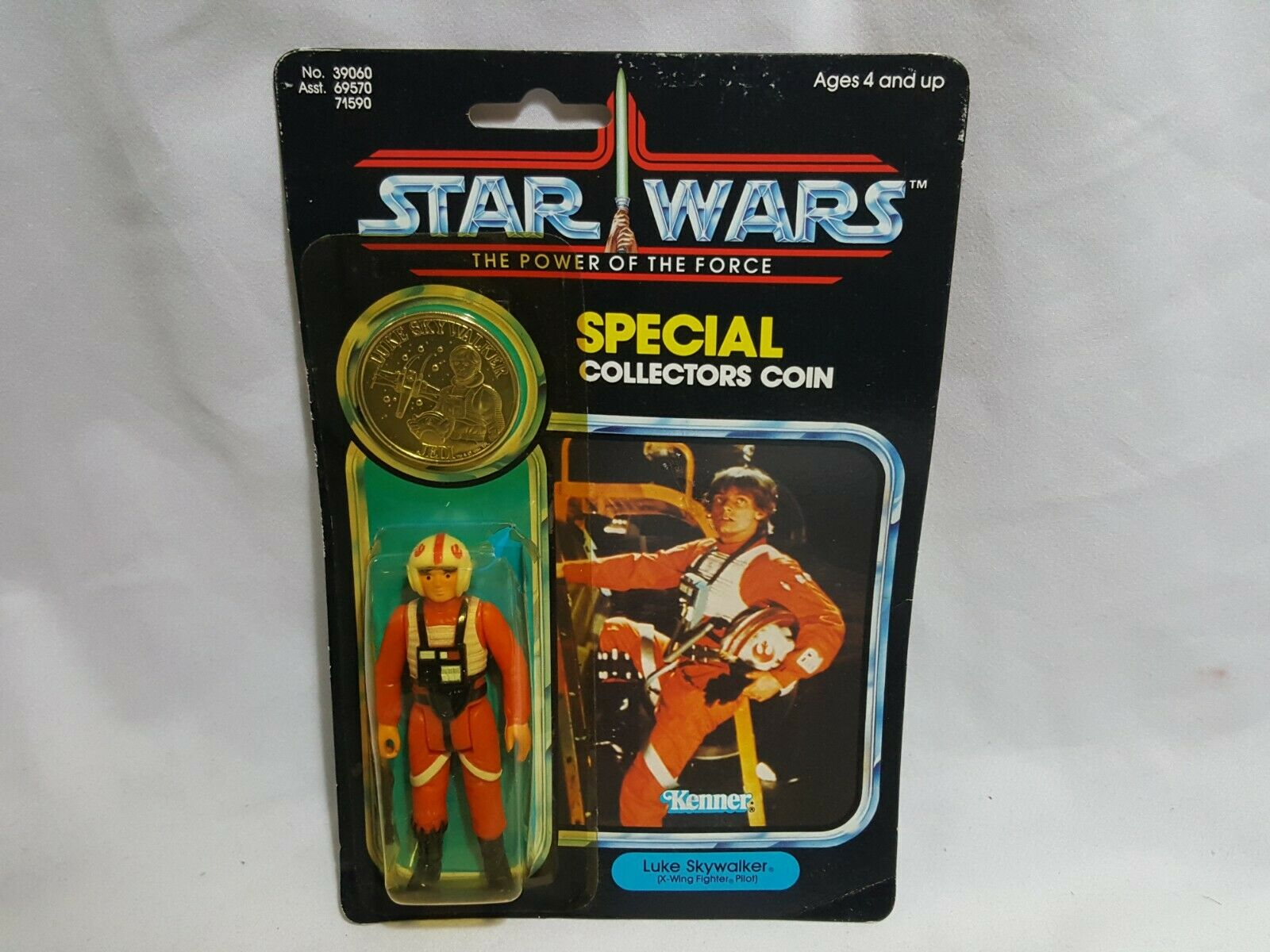 Luke Skywalker X-Wing Fighter Pilot avec coin 1984 Star Wars Power of the force
