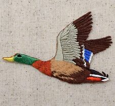Iron On Embroidered Applique Patch Drake Mallard Duck Flying Green Head