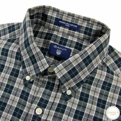 Gant Grey Blue Cotton Windblown Oxford Plaid Fitte