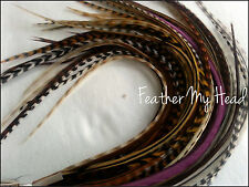 50 NATURAL LONG  WHITING GRIZZLY SADDLE FEATHER HAIR EXTENSION LOT1