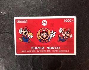 Nintendo Super Mario Prepaid Card 1000 Souvenir Gift Card Used No