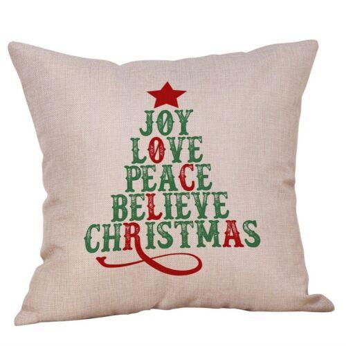 """18/"""" Merry Christmas Pillow Cases Cotton Linen Sofa Cushion Cover Home Decor KA"""