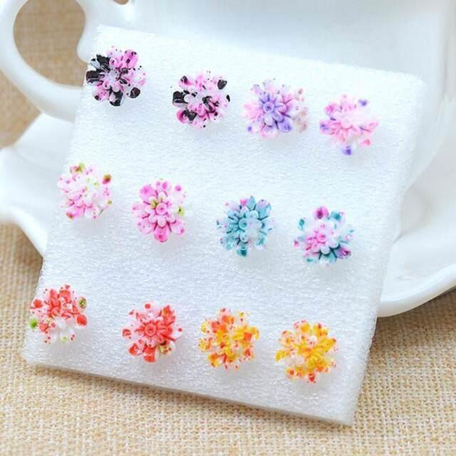6 Pairs Resin Colorful Daisy Flower Ear Stud Earrings Women Fashion Jewelry b