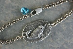 Narwhal Love Bracelet Antiqued Silver Pewter Unicorn Of