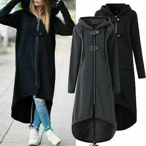 Women Hi-Lo Long Hoodie Coat Jacket Zip Hooded Sweatshirt Tops Outwear Blouse