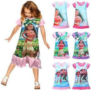 Toddler-Girl-Moana-Princess-Fancy-Dress-Nightwear-Nightgown-Pyjamas-Kids-Costume
