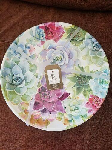 RACHEL ASHWELL MELAMINE 4 FLORAL DINNER PLATES NWT
