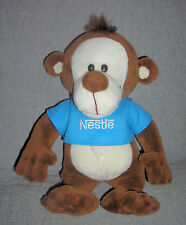 Nestle  plush MONKEY  with Nestle shirt   brown cream      11  inch    excellent