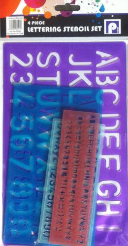 4 x STENCIL SET LETTERS ALPHABET CRAFT NUMBER LETTERING SCHOOL