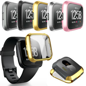 For-Fitbit-Versa-Bands-Fitness-Slim-Sleeve-Case-Plating-Protective-Soft-Cover-HQ